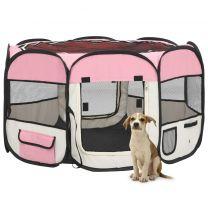 Hondenren inklapbaar met draagtas 110x110x58 cm roze