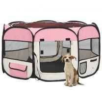 Hondenren inklapbaar met draagtas 125x125x61 cm roze