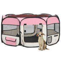 Hondenren inklapbaar met draagtas 145x145x61 cm roze