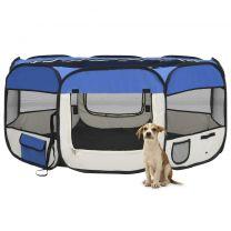 Hondenren inklapbaar met draagtas 145x145x61 cm blauw