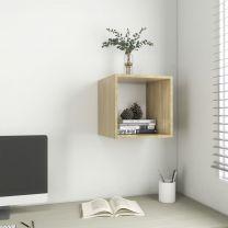 Wandkast 37x37x37 cm spaanplaat wit en sonoma eikenkleurig