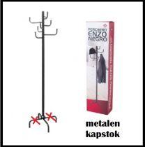 Staande zwarte metalen Kapstok - 170cm hoog met 8 Haken , mist 1 onderdeel