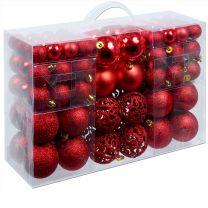 Kerstboomballen kunststof kleur Rood set van 100 stuks