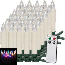 LED Kerstboom Kaarsen 30 stuks gekleurd met Afstandsbediening