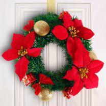 Deurkrans kerstkrans 22cm rood
