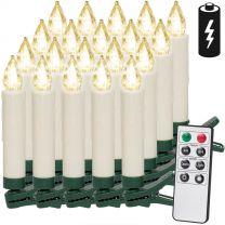 LED Kerstboom Kaarsen 20 stuks warm wit met Afstandsbediening