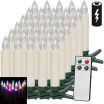 LED Kerstboom Kaarsen 30 stuks kleurig met Afstandsbediening