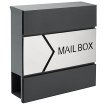Monzana Designer brievenbus antraciet / zilver