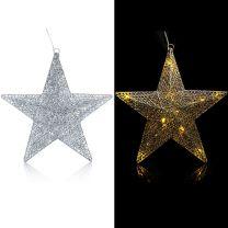 LED Glitterster Kerstmis Zilverkleurig