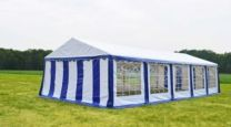 Classic Plus Partytent PVC 6x12x2 mtr in Wit-Blauw