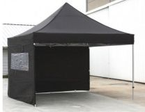 Professionele Easy Up Partytent Alu 4 x 4 mtr met zijwanden in Zwart
