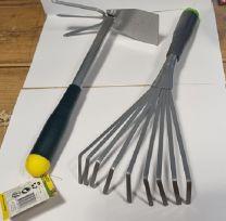 Kinzo tuingereedschap 2 delig met rubberen handvat groen-geel