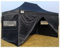 Professionele Easy Up Partytent Aluminium 3 x 4,5 mtr met zijwanden in Zwart