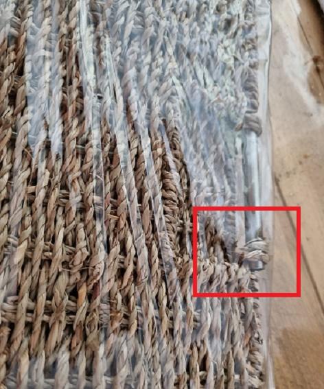 Opbergmand opvouwbaar , wasmand , zeegras 32 x 32 cm met roest schade